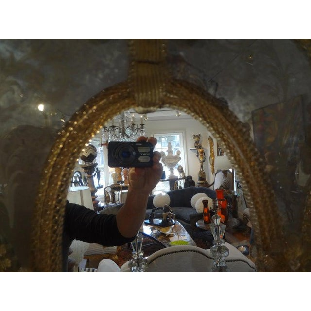 Gold Antique Etched Venetian Mirror For Sale - Image 8 of 13