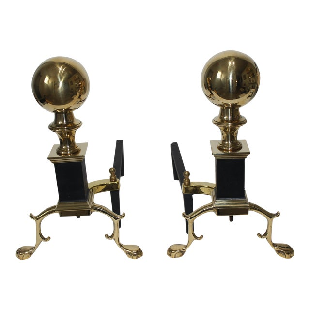 19c Fireplace Accesories Regency Style Andirons - a Pair For Sale