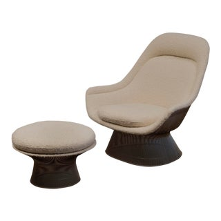 Warren Platner Lounge Chair and Ottoman in Pierre Frey Boucle For Sale