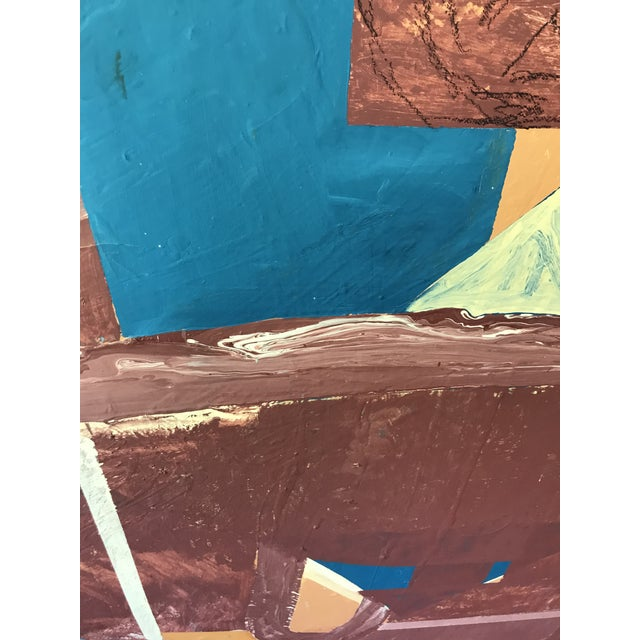 Mid Century Modern Large Original Abstract Oil Painting on Canvas For Sale - Image 6 of 11