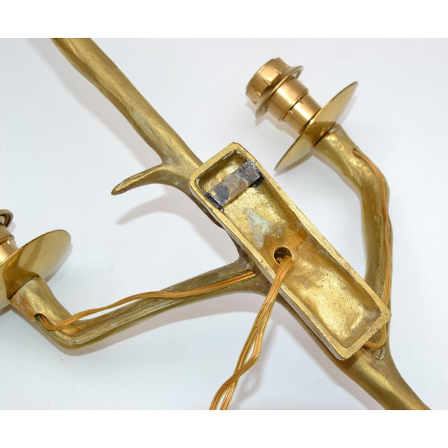 Pair of Agostini Style Sconces Bronze With Black & Gold Shades, France 1950s For Sale - Image 11 of 13