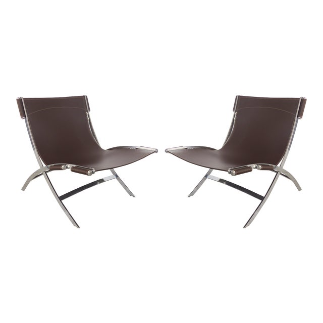 Paul Tuttle, Antonio Citterio for Flexform Italia Scissor Chairs in Stainless Steel & Leather-A Pair For Sale