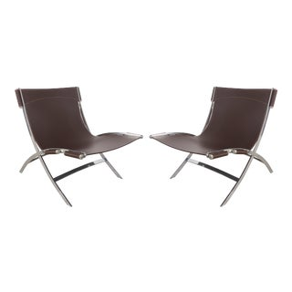 Paul Tuttle for Flexform Italia Scissor Chairs in Stainless Steel & Leather-A Pair
