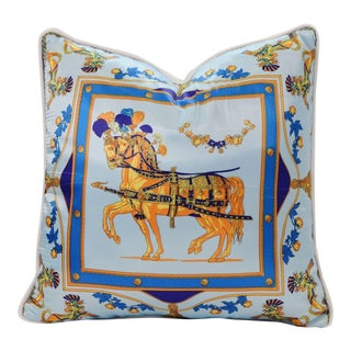 Blue Horse Silk Pillow For Sale