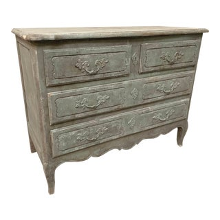 Antique French Distressed Painted Grey Green Commode For Sale