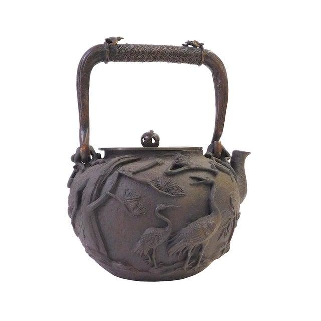 Vintage Iron Relief Turtle Crane Decorative Teapot - Image 3 of 10