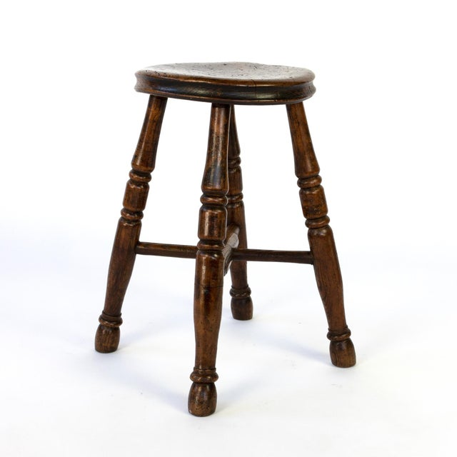 English Round Fruitwood Work Stool With Four Turned Legs, Circa 1870 For Sale - Image 3 of 6