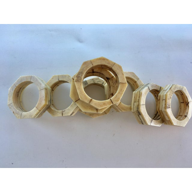 Bone Inlaid Napkin Rings - Set of 8 For Sale - Image 4 of 5