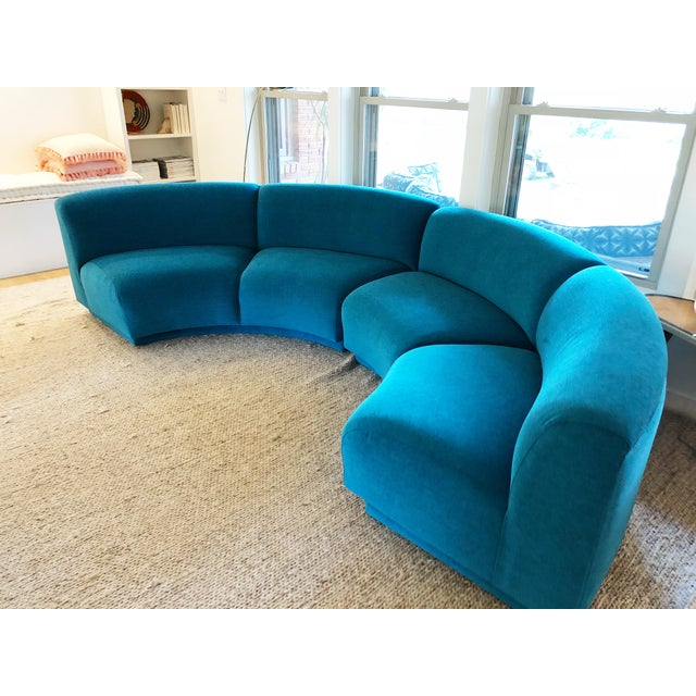 Vintage Turquoise Semi Circle Sofa - Image 2 of 9