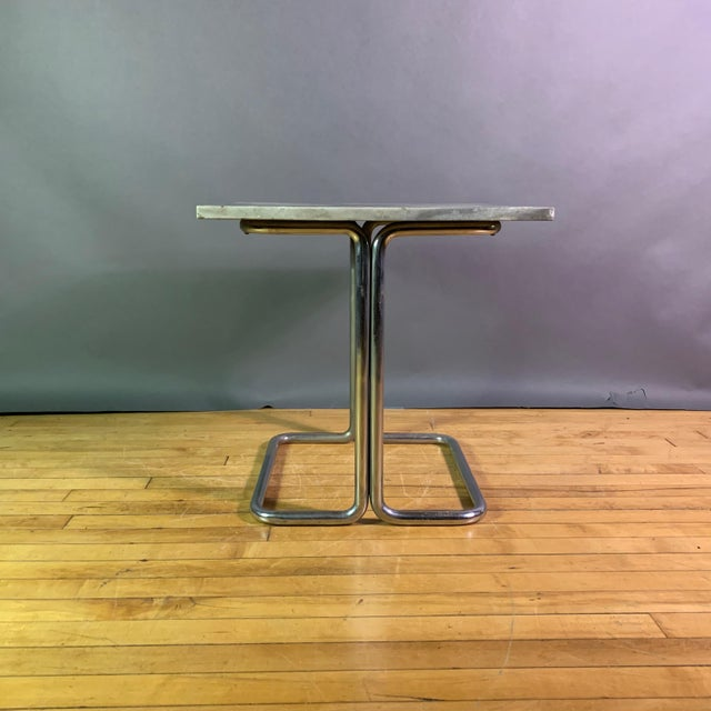 Wolfgang Hoffman (Attr) 1930s Tubular Chrome & Marble Table For Sale In New York - Image 6 of 11