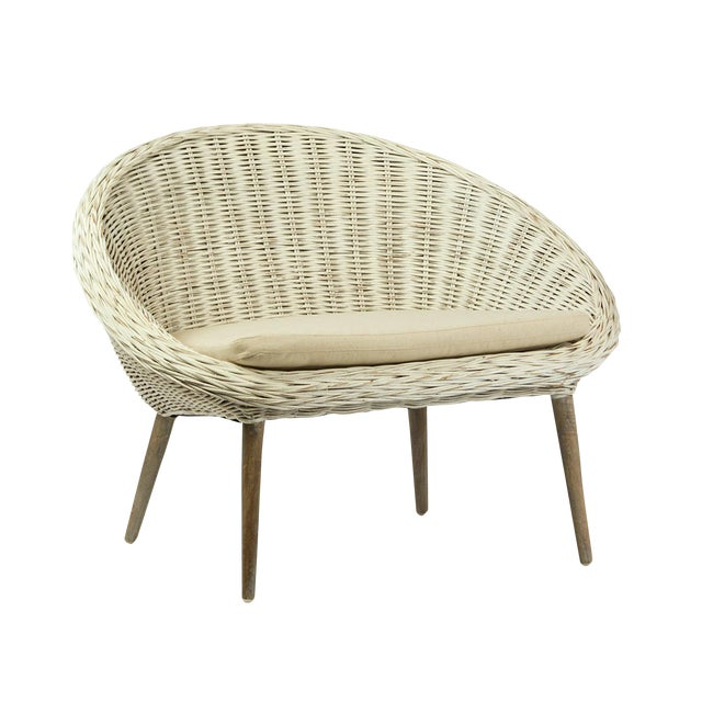 White Rattan Chair With Cushion For Sale - Image 5 of 5