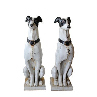 "Late 1890s Cast Iron ""Whippet"" Dogs- a Pair"