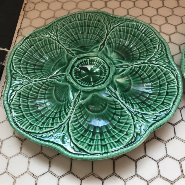 Green French Glazed Oyster Plates-Pair For Sale In Los Angeles - Image 6 of 11