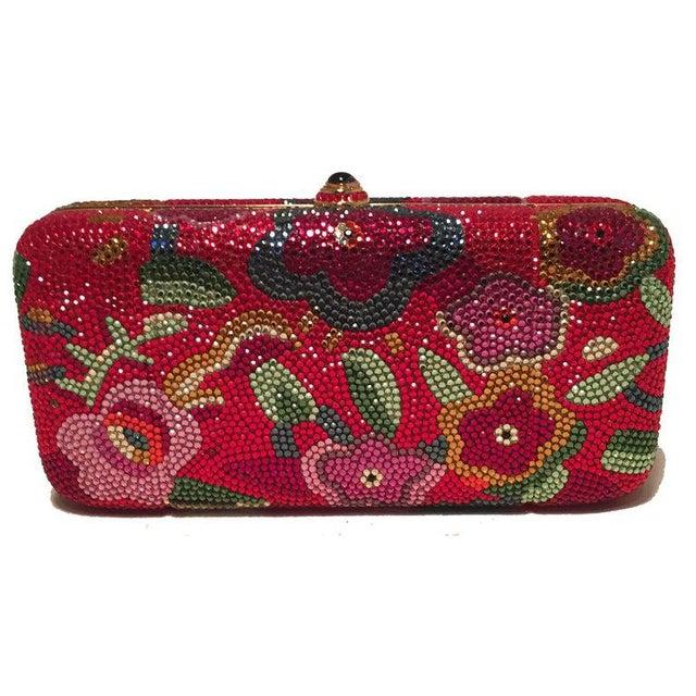 Judith Leiber Red Swarovski Crystal Floral Print Minaudiere Evening Bag Clutch in excellent condition. Red swarovski...