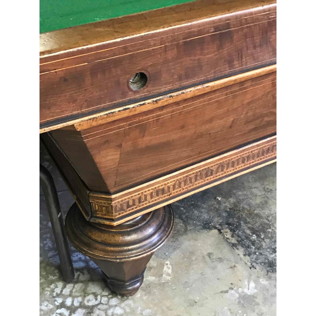 Traditional 1860s Italian Carom Mahogany Billiard Table With Inlay For Sale - Image 3 of 12