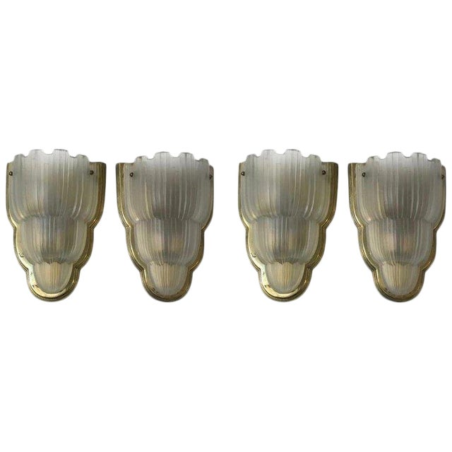 "French Art Deco ""Waterfall"" Sconces Signed by Sabino - Set of 4 For Sale"