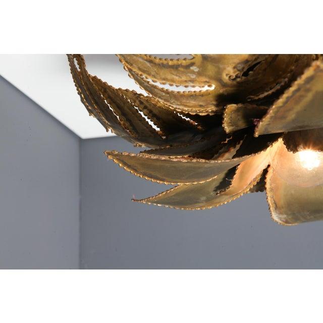 Brass Maison Jansen Regency Brass Palm Chandelier For Sale - Image 8 of 9