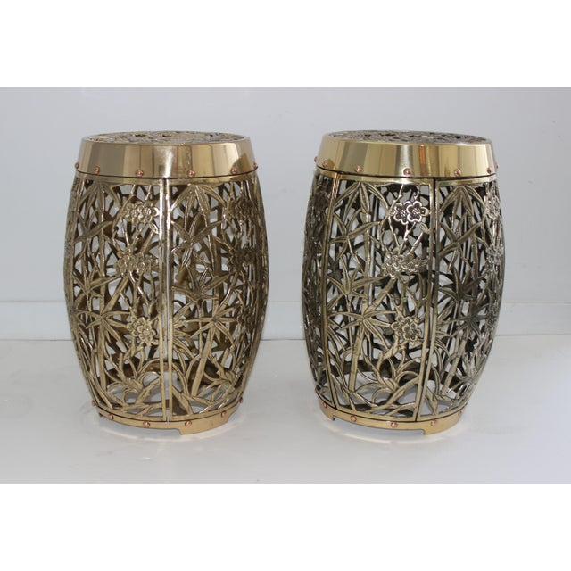 Asian Garden Stools Bamboo Crane Bird Cherry Blossom Motif in Polished Brass Fretwork - a Pair For Sale - Image 3 of 11