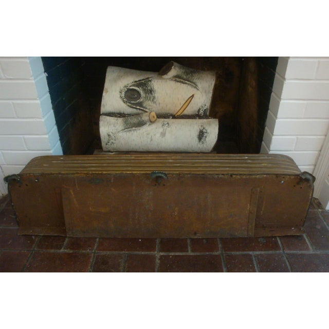 Gold Early Arts & Crafts Brass Fireplace Fender Rail For Sale - Image 8 of 9