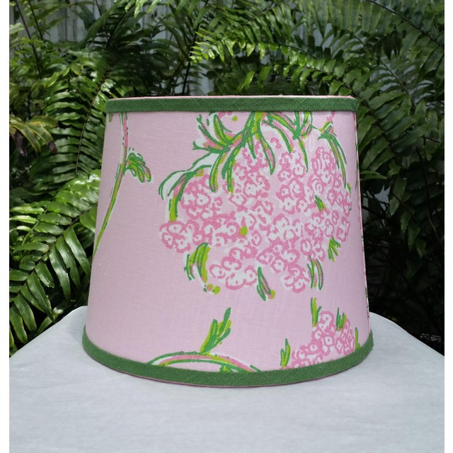 Lilly Pulitzer Fabric Pink, Green Tapered Drum Lampshade For Sale In West Palm - Image 6 of 12