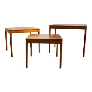 1950s Mid Century Modern Kipp Stewart Walnut Nesting Tables - Set of 3 For Sale
