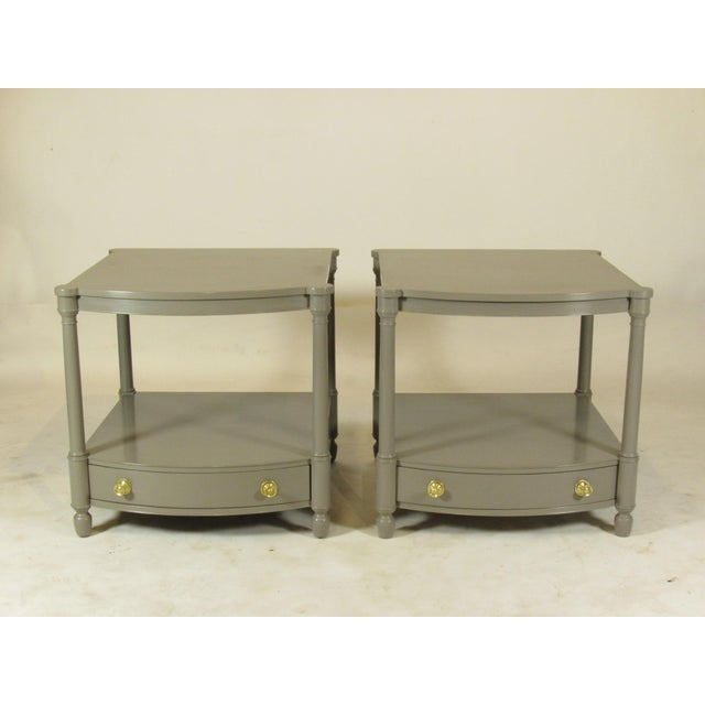 Gold 1950s Empire Baker FurnitureGray Lacquer End Tables - a Pair For Sale - Image 8 of 8