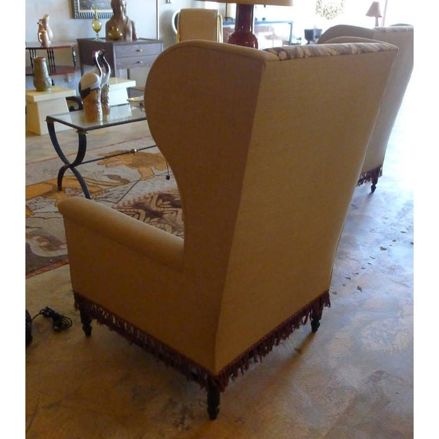 Bohemian Wingback Pair Chairs Early 20th Century For Sale In Los Angeles - Image 6 of 11