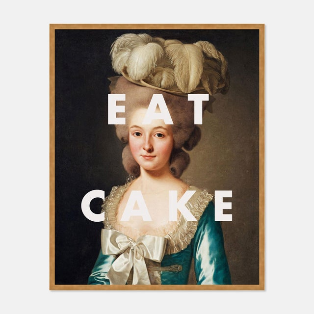 Contemporary Eat Cake by Lara Fowler in Gold Framed Paper, Small Art Print For Sale - Image 3 of 3