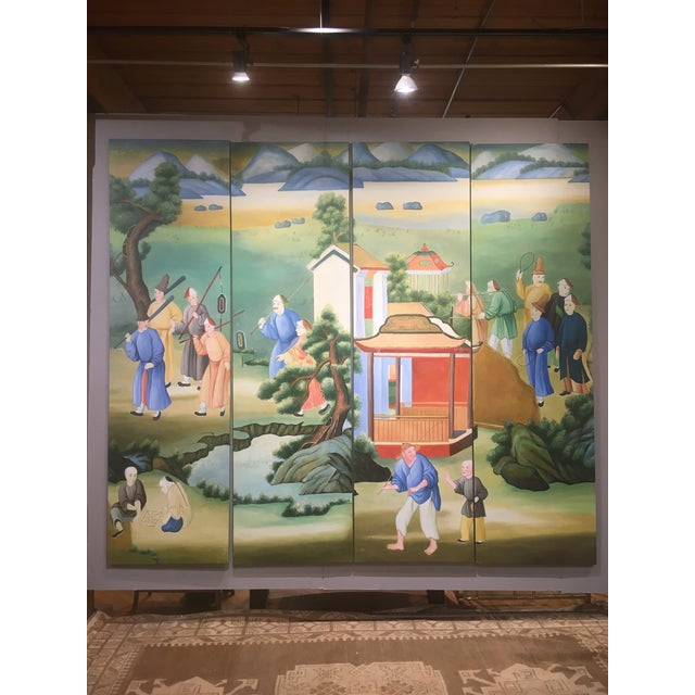 Chinoiserie Mural Painting on Panels For Sale - Image 13 of 13