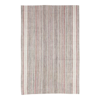 Mid 20th Century Pink & Gray Striped Vintage Modern Kilim Rug For Sale