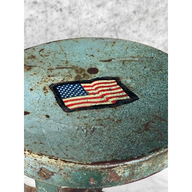 Farmhouse Vintage Rustic Farmhouse Aluminum Metal Low Milking Stool For Sale - Image 3 of 9