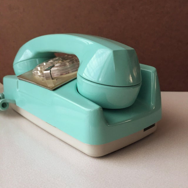 GTE Automatic Electric Aqua Starlite Princess Style Rotary Telephone For Sale - Image 4 of 11