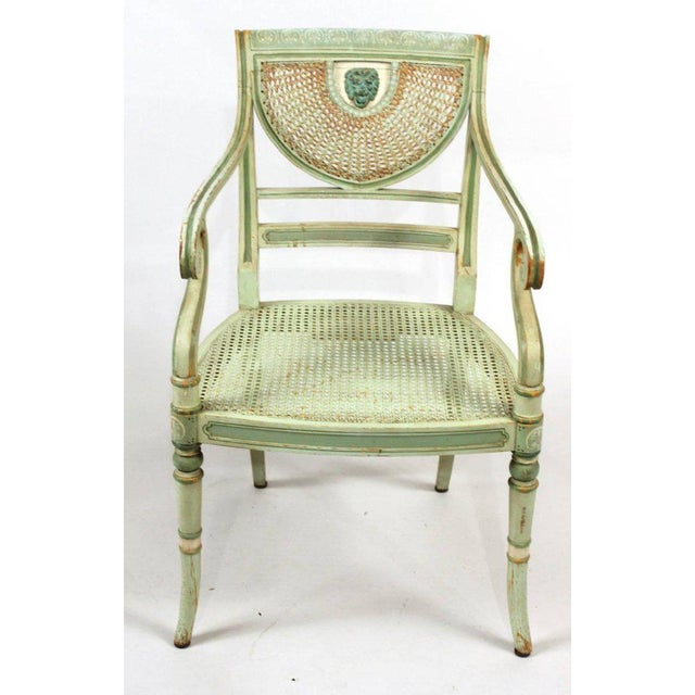 Georgian 19th Century Regency Style Neoclassical Painted Armchairs - Set of 4 For Sale - Image 3 of 10