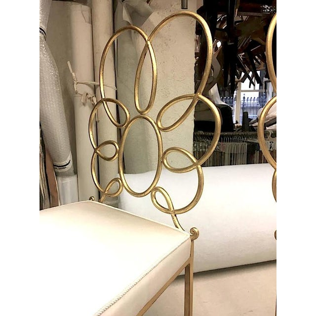 René Prou Rene Prou Rare Superb Witty Four-Flower Gold Leaf Wrought Iron Chairs in Silk For Sale - Image 4 of 6
