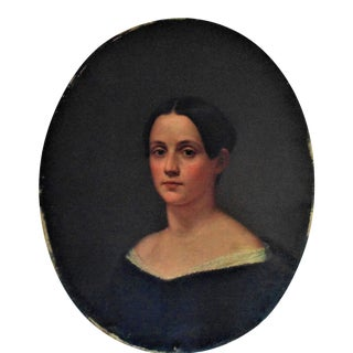 19th Century American School Antique Girl Woman Lady Portrait Oil Painting on Canvas For Sale