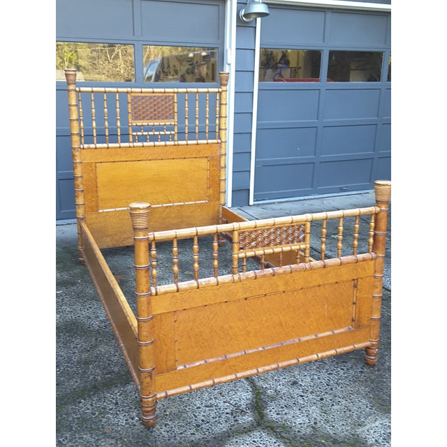 Boho Chic 1940s Vintage Birdseye Maple and Faux Bamboo Bed For Sale - Image 3 of 6