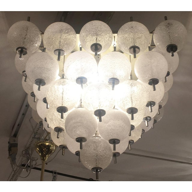 Mid-Century Modern Murano Flush Mount Fixture Attributed to Seguso For Sale - Image 3 of 5
