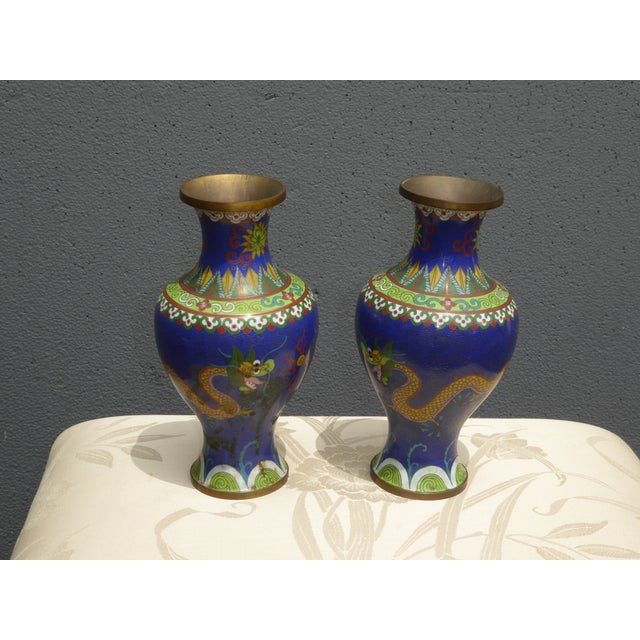 Vintage Chinese Cloisonne Brass Painted Blue Dragon Vases - A Pair - Image 5 of 11