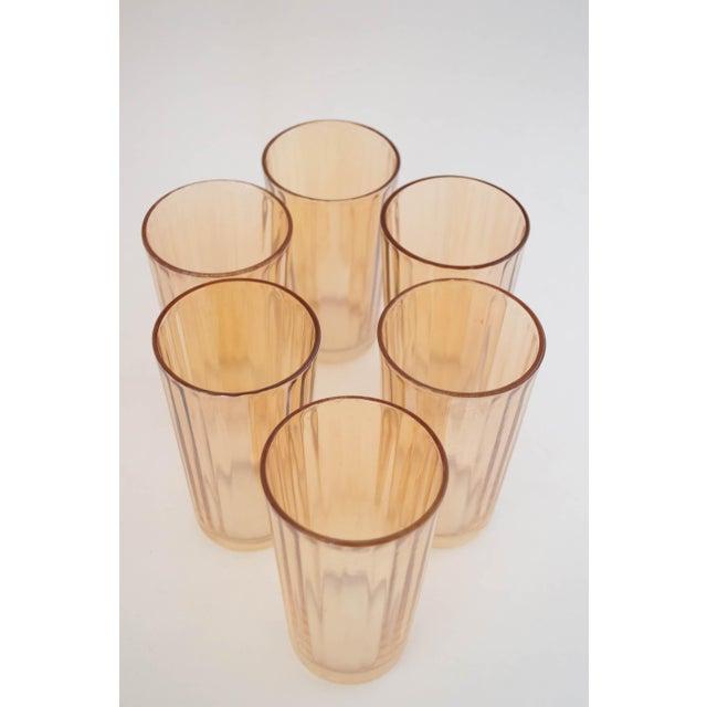 """Jeannette Glass Jeanette Glass Marigold """"Optic Pillar"""" Tumbler Set/6 For Sale - Image 4 of 7"""