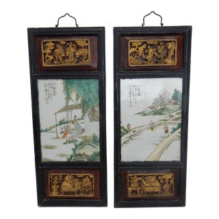 Pair of Antique Chinese Artist Signed Gilt Wood Framed Porcelain Plaques For Sale