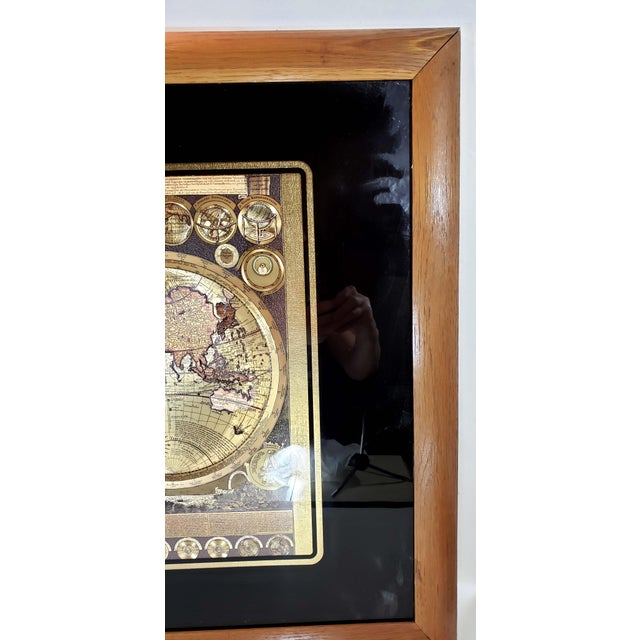 Gold Foil World Map Planisphaerium Terrestre Lithograph, Framed For Sale In Los Angeles - Image 6 of 7