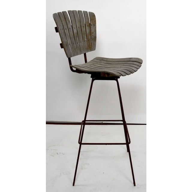 Vintage Umanoff Weathered Wood Stools- Set of 4 For Sale - Image 9 of 11