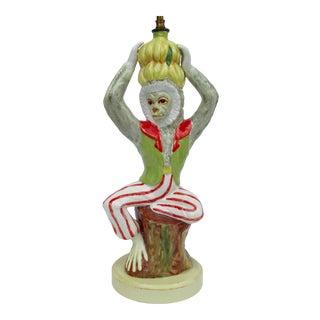 C1950's Hollywood Regency Italian Porcelain Ceramic Monkey Lamp For Sale