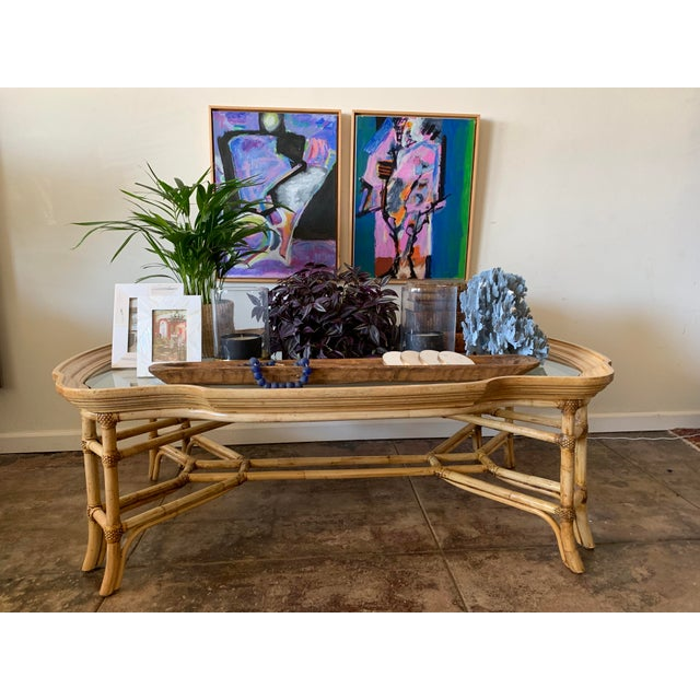 Stunning classic 1970's Vintage Bamboo, Wood and glass table restored to a natural finish.