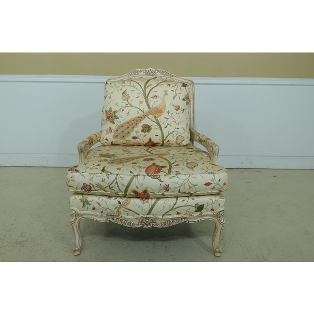 Thomasville Decorator Upholstered Peacock Print French Chair For Sale - Image 11 of 11