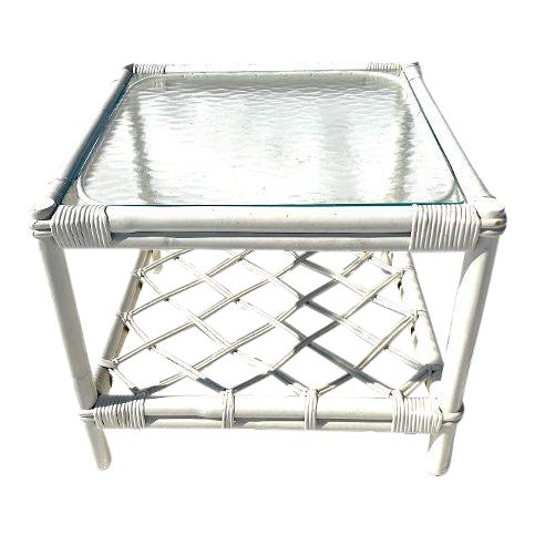 1970ss Ficks Reed Co. Attributed Rattan Glass Top Side Table For Sale