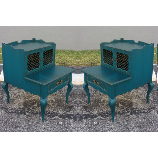 Mid-Century Blue Nightstands - Pair - Image 2 of 9