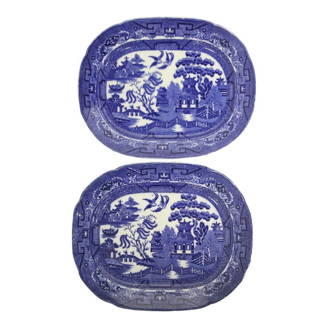 English Blue Willow Platters, Pair For Sale