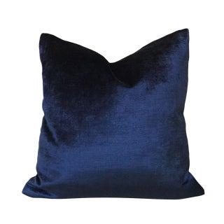 Contemporary Velvet Dark Blue Pillow Cover For Sale