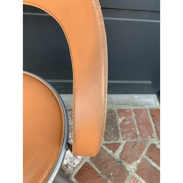 1990s Mid Century Italian Leather Chairs - Pair For Sale - Image 5 of 8